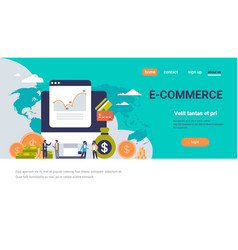e-commerce business money graph growth wealth vector image