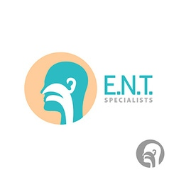 ENT logo template Head silhouette sign for ear vector