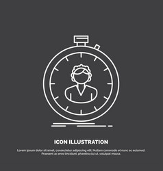 Fast speed stopwatch timer girl icon line symbol vector