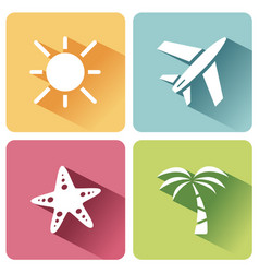 four summer and tourism icons set with shade vector image