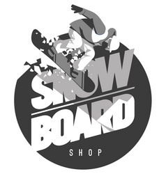 Freeride snowboarder in motion sport logo or vector