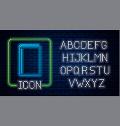 Glowing neon book icon isolated on brick wall vector
