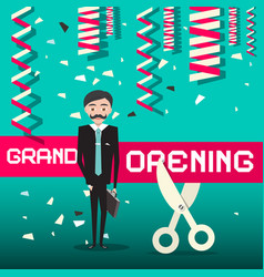grand opening design with businessman vector image