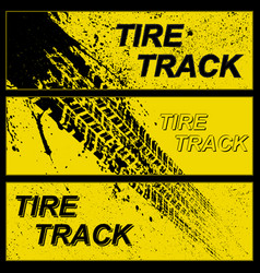 Grunge yellow tire tracks banners vector