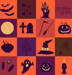 Halloween black and orange icons set Bright vector image