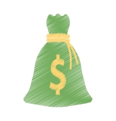 Hand draw bag money dollar cash color vector