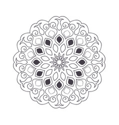 Hand drawn flower mandala for coloring book vector