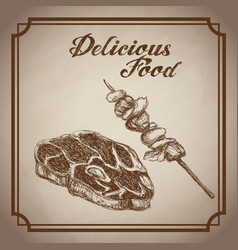 Hand drawn steak skewer delicious food sketch vector