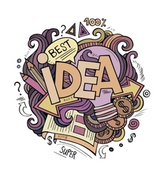 Idea hand lettering and doodles cartoon elements vector