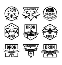 Isolated monochrome quadcopter icons in frames rc vector