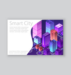 Isometric city business card vector