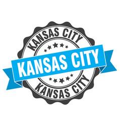 kansas city round ribbon seal vector image