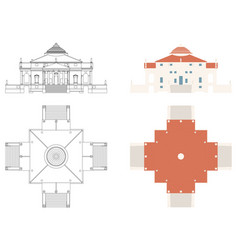 La rotonda house in front and top view vector