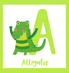 Letter a vocabulary alligator vector