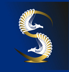 letter s is golden on a dark blue background vector image