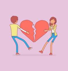 lovers broken heart vector image