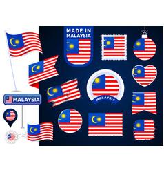 malaysia flag collection big set of national flag vector image
