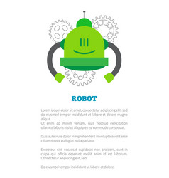 mechanical robot in green corpus with two tubes vector image