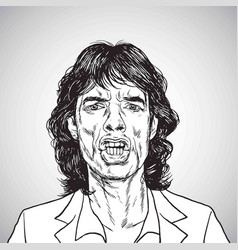 Mick jagger portrait hand drawn drawing vector