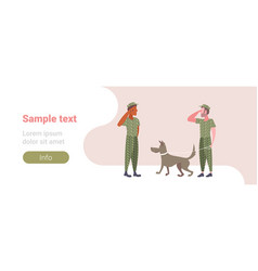 Military men standing with dog mix race army vector