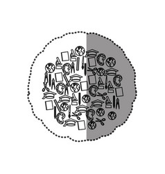 monochrome contour sticker with set of study icons vector image