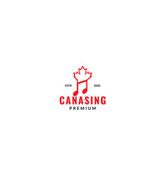 Music with canada maple leaf logo design vector