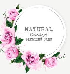 Nature vintage greeting card with beauty flowers vector