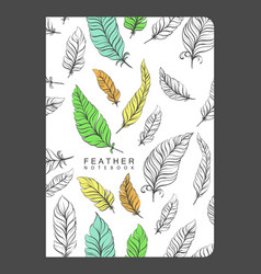 notebook template with feathers vector image