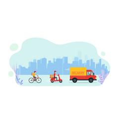 Online service delivering goods home truck vector