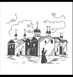 orthodox monastery russia vector image