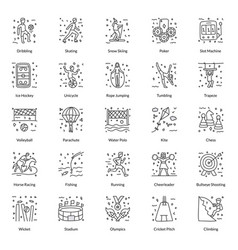 Pack sports doodle icons vector