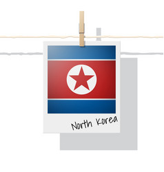 photo of north korea flag on white background vector image