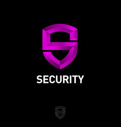 purple letter s like shield antivirus protection vector image