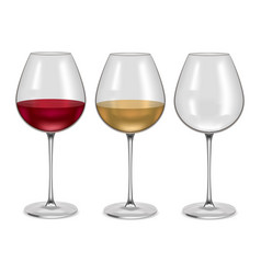realistic glass empty and with wine set vector image