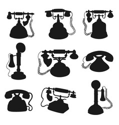 retro phone rotary dial telephone silhouettes vector image