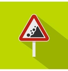 Rockfall traffic sign icon flat style vector image