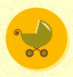 Round icon green stroller symbol baby toy vector
