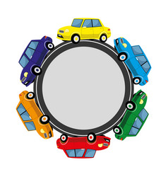 round sign with cars on the road vector image