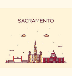 sacramento skyline california usa line city vector image