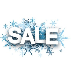 Sale background with blue snowflakes vector image