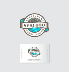 Seafood restaurant logo sea waves ribbon lettering vector