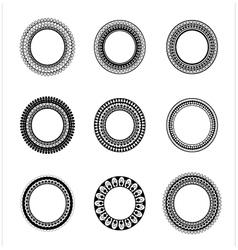 set 9 elegant round frames vector image