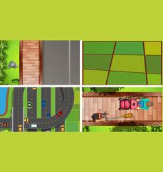 set aerial landscape vector image