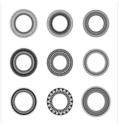 Set of 9 elegant round frames vector image