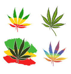 Set of cannabis plant marijuana leaf on the flag vector