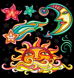 Set of celestial symbols vector