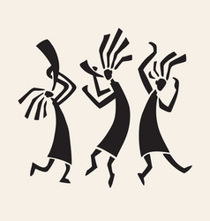 silhouette of musicians and dancers vector image