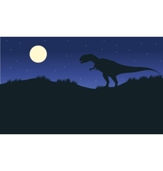 Silhouette of one allosaurus with moon vector image vector image