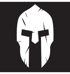 Silhouette of Spartan helmet with scratches from vector image