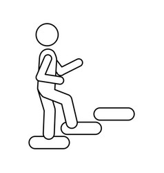 silhouette pictogram climbing stairs icon flat vector image